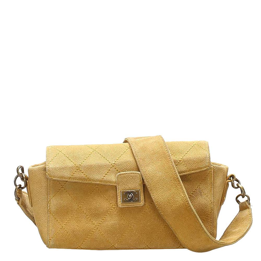 Chanel Brown Suede Wild Stitch Flap Bag