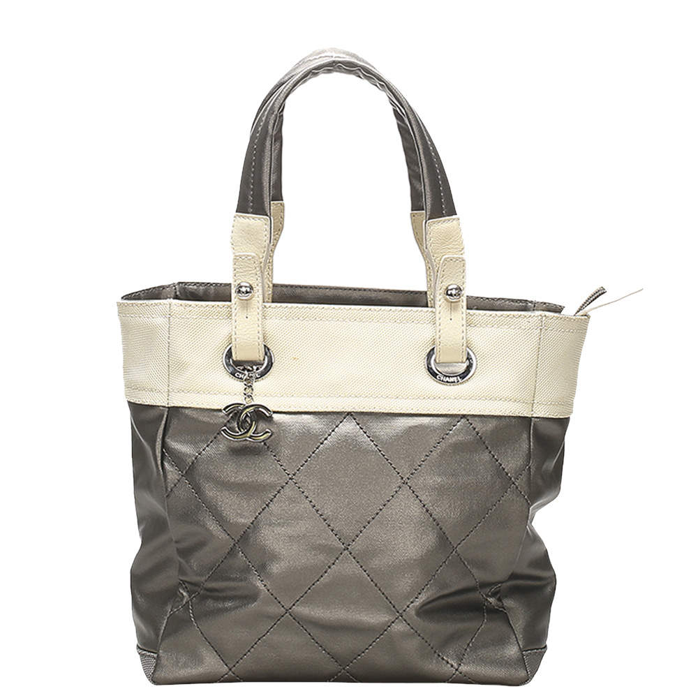 Chanel Grey/White Quilted Leather Paris-Biarritz Small Tote Bag