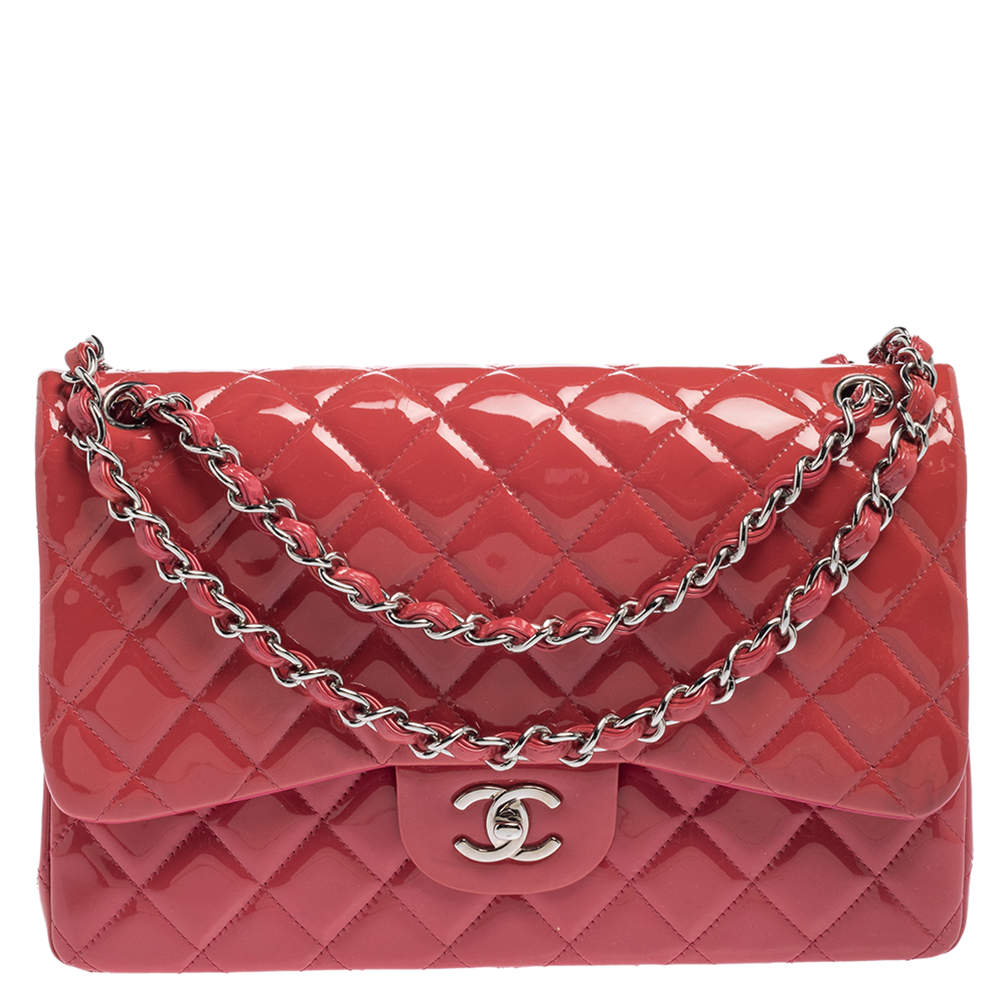 Chanel Pink Quilted Patent Leather Jumbo Classic Double Flap Bag