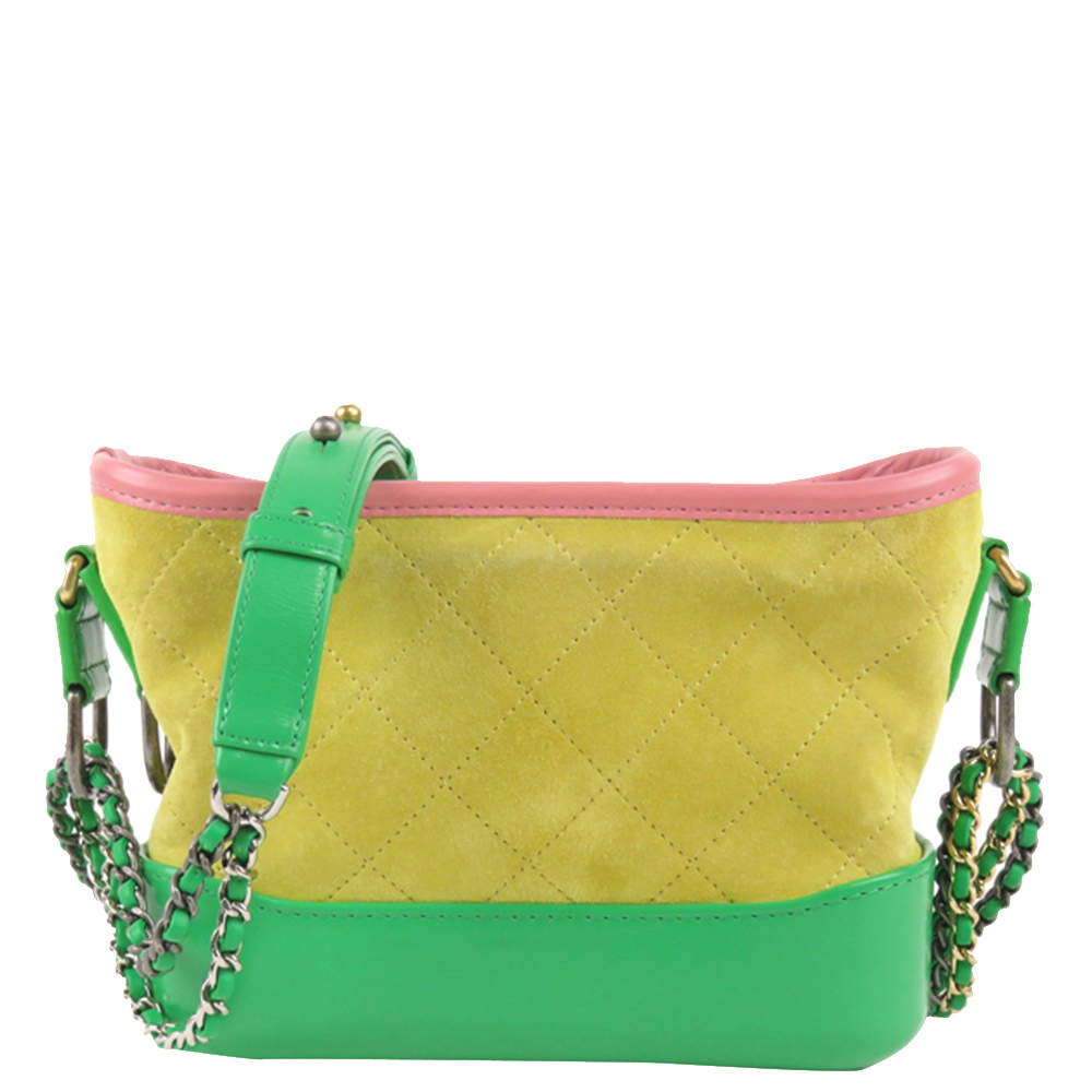Chanel Yellow/Green Leather Gabrielle Bag