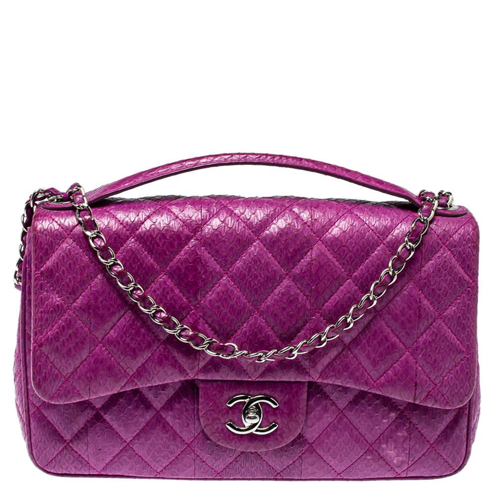 Chanel Purple Snakeskin Jumbo Easy Carry Flap Bag
