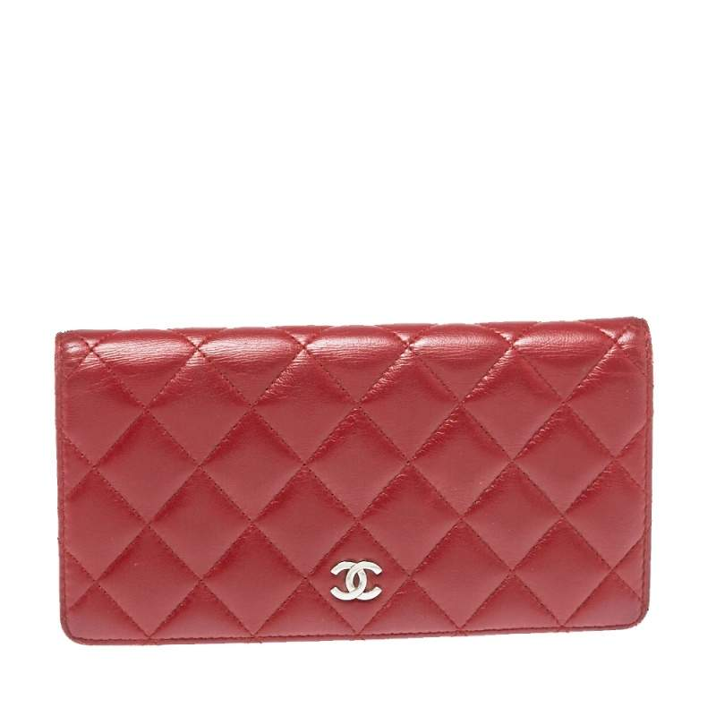 Chanel Red Quilted Leather L Yen Continental Wallet