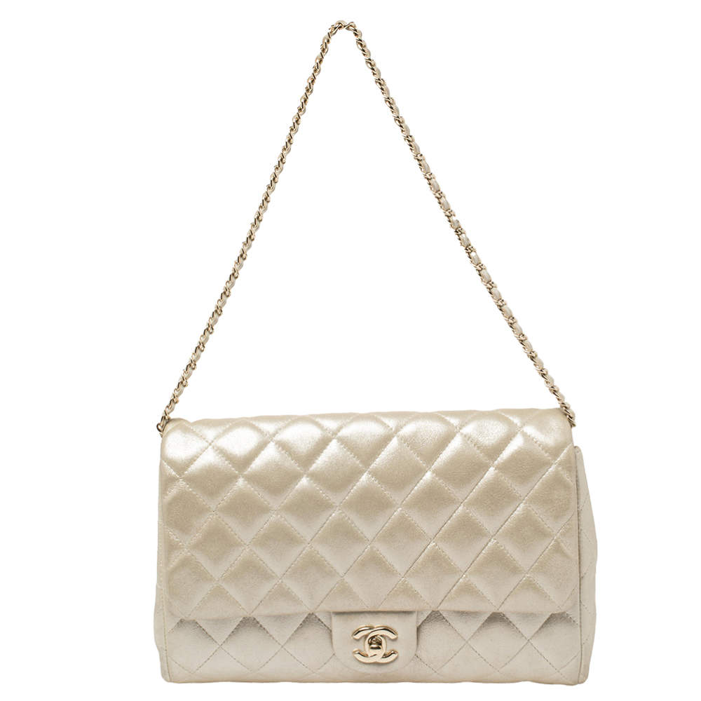 Chanel Light Gold Quilted Leather Chain Clutch Flap Bag
