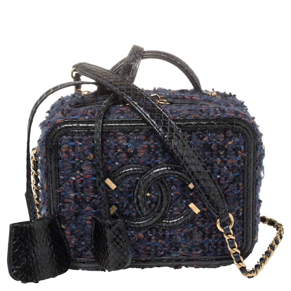 Chanel Blue Tweed and Snakeskin Mini CC Filigree Vanity Case Bag