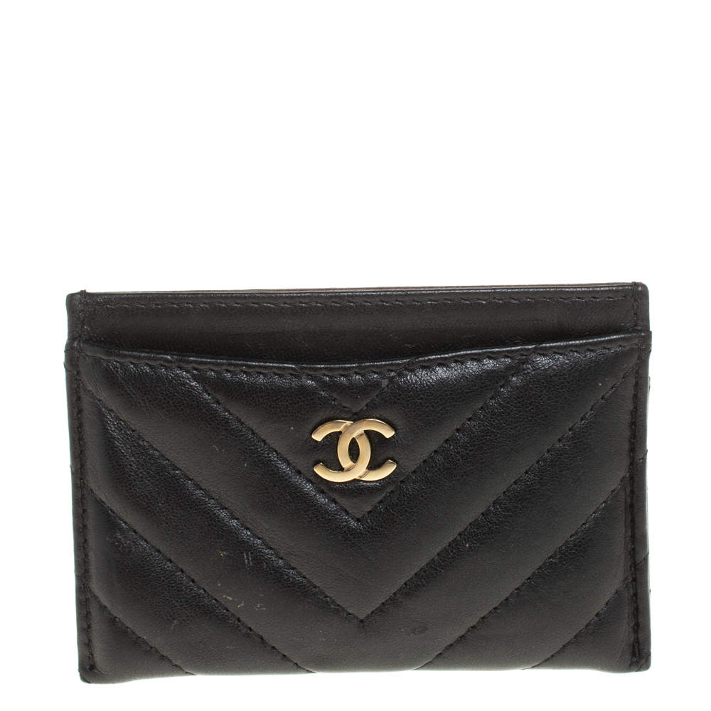 Chanel Black Chevron Leather CC Classic Card Holder