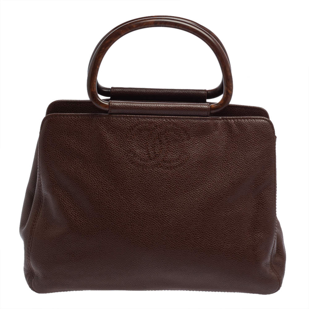 Chanel Brown Caviar Leather Vintage Wooden Handle Tote