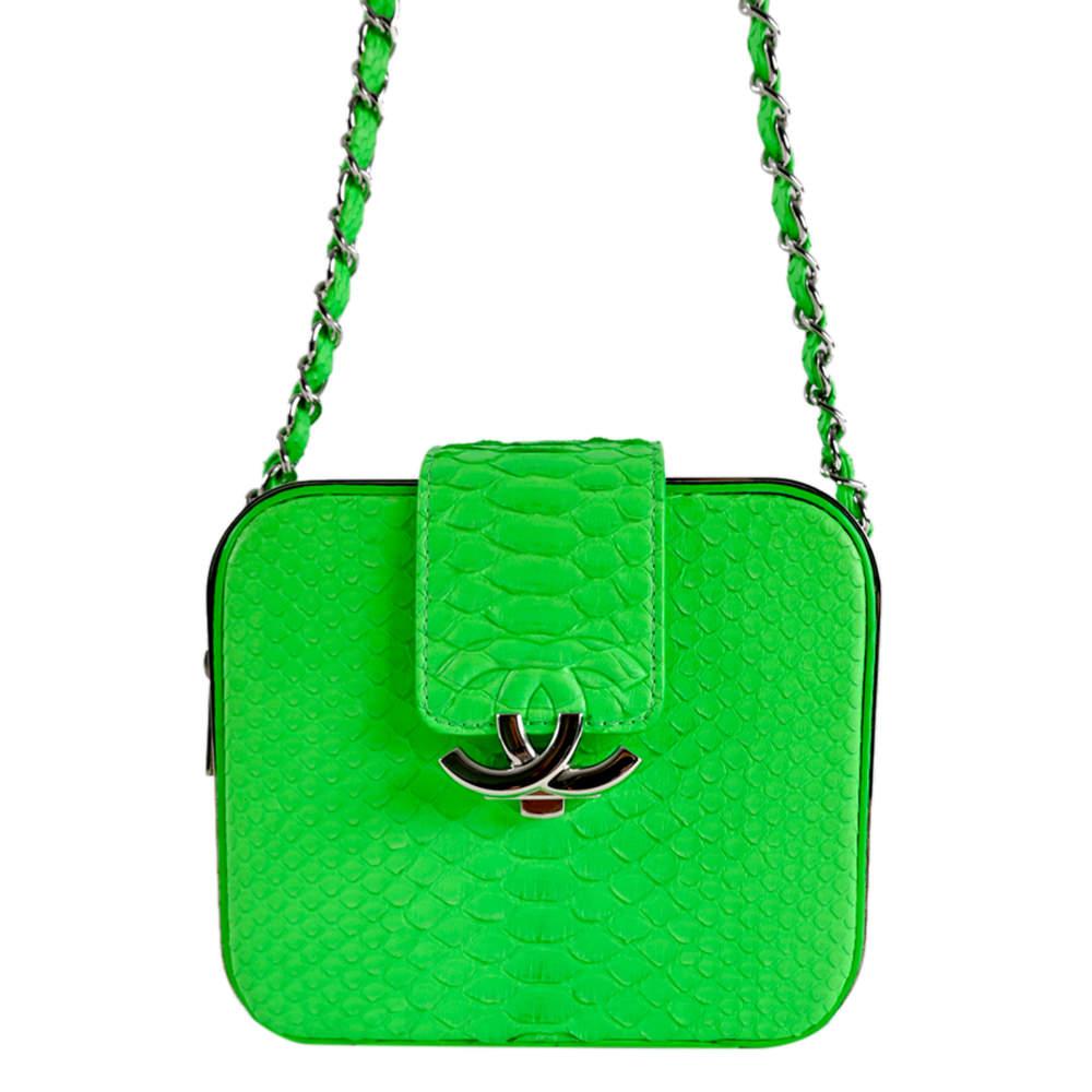 Chanel Neon Green Python Leather CC Box Camera Bag