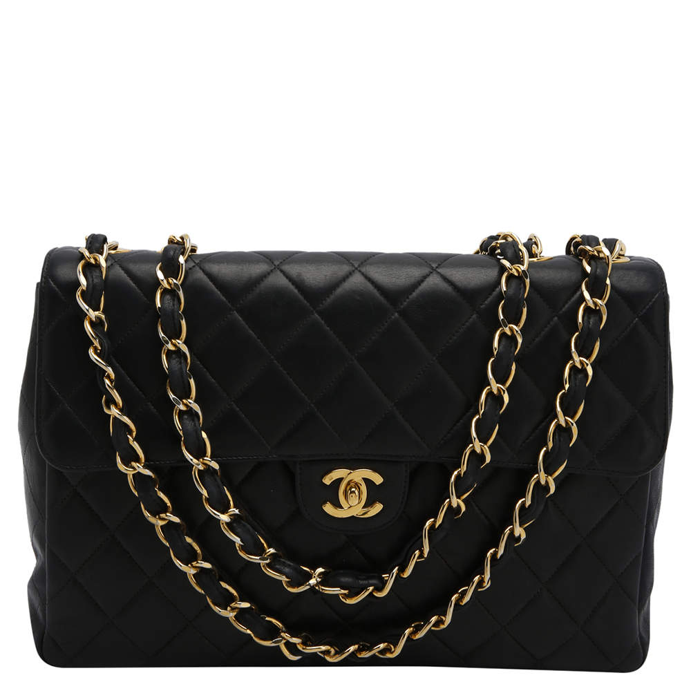 Chanel Black Lambskin Leather Quilted Jumbo Single Flap Bag
