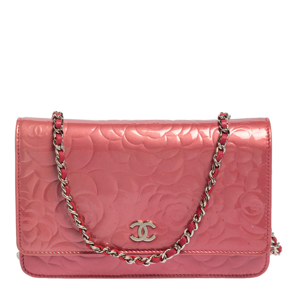 Chanel Pink Embossed Patent Leather Camellia WOC Clutch Bag