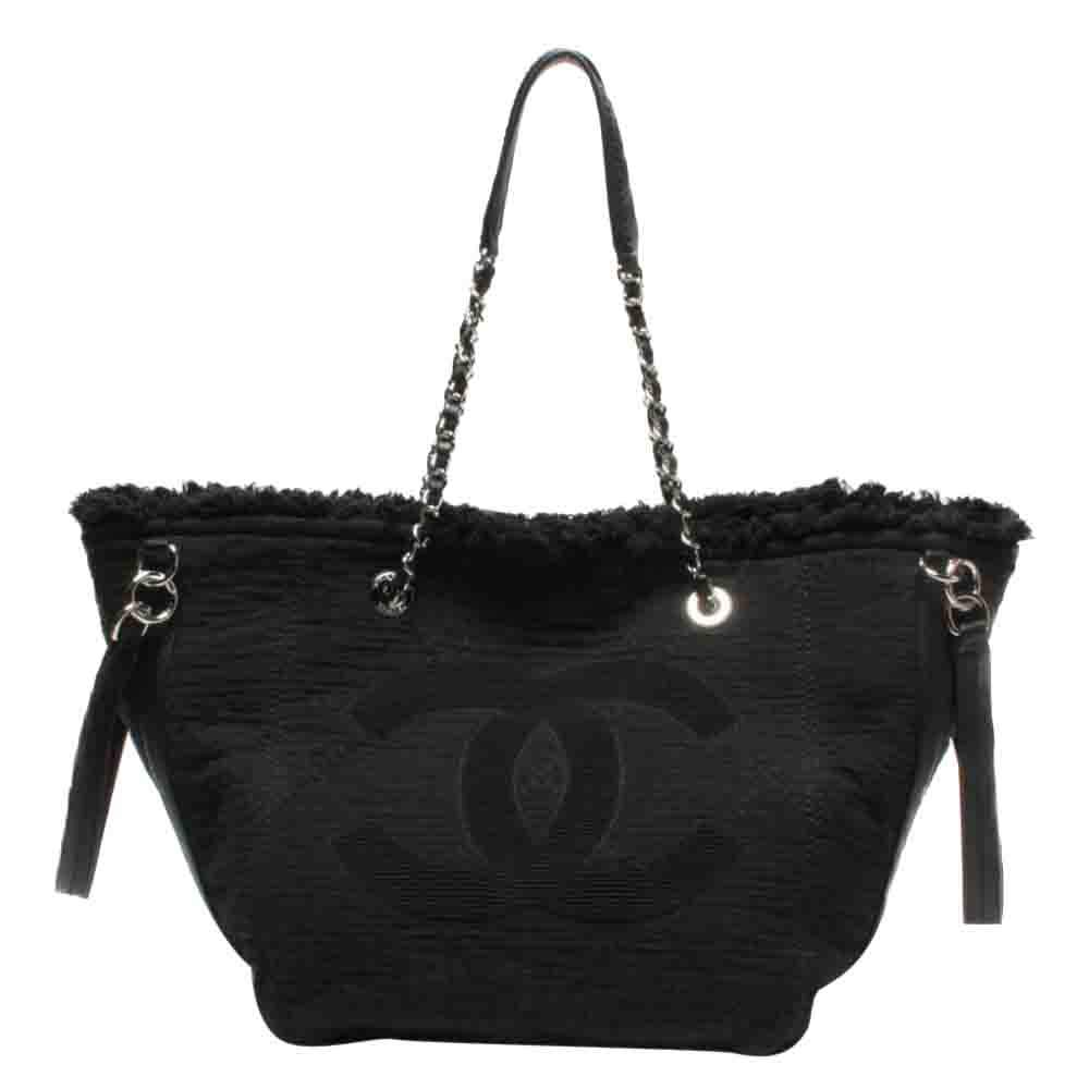 Chanel Black Canvas Double Face Shopping Tote Bag