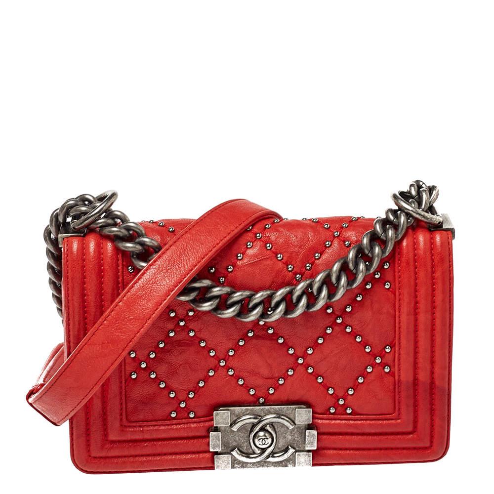 Chanel Red Quilted Studded Leather Small Boy Flap Bag