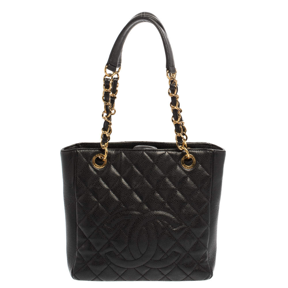 Chanel Black Quilted Caviar Leather Petite Shopping Tote