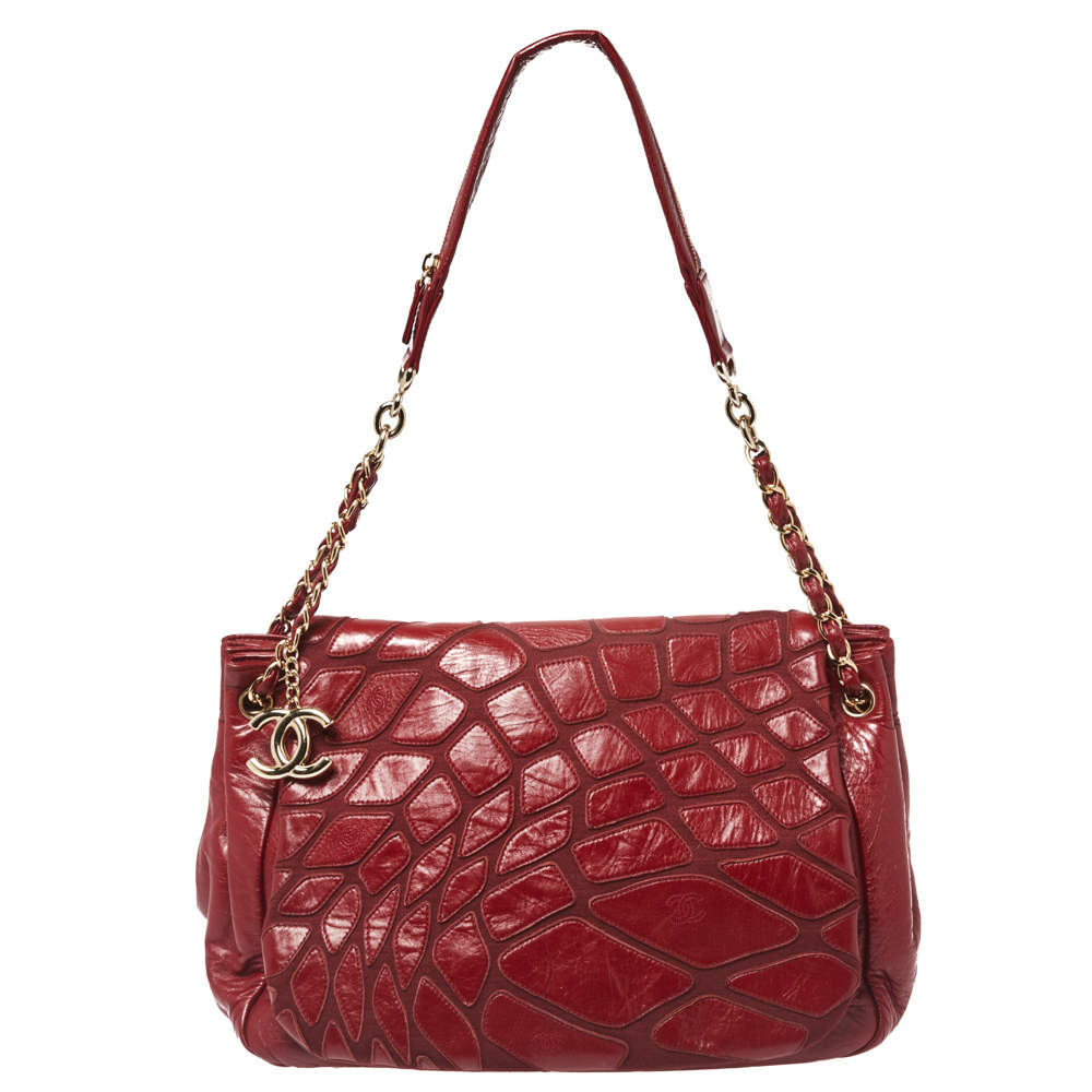 Chanel Red Leather Scales Accordion Shoulder Bag