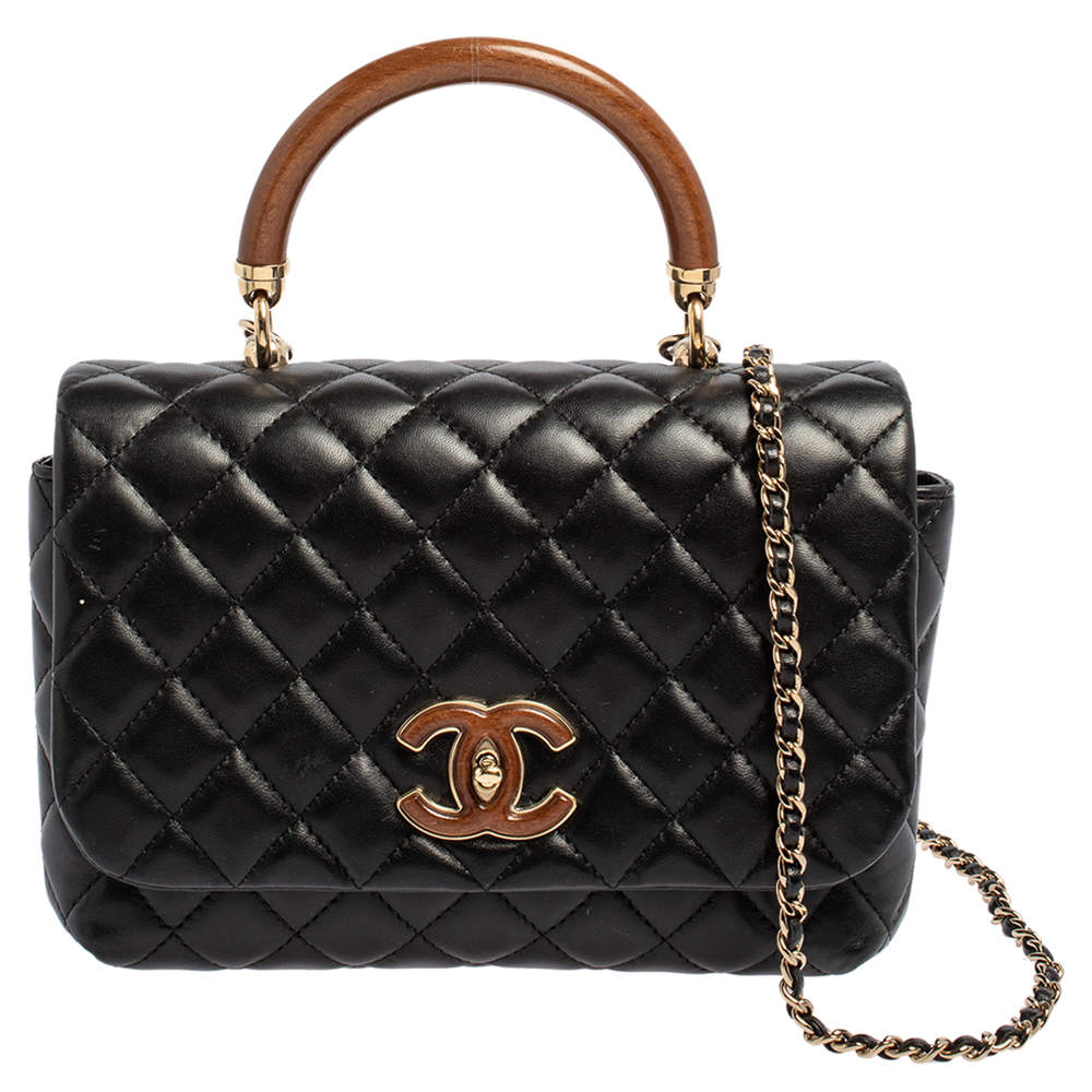 Chanel Black Quilted Leather Knock On Wood Top Handle Bag