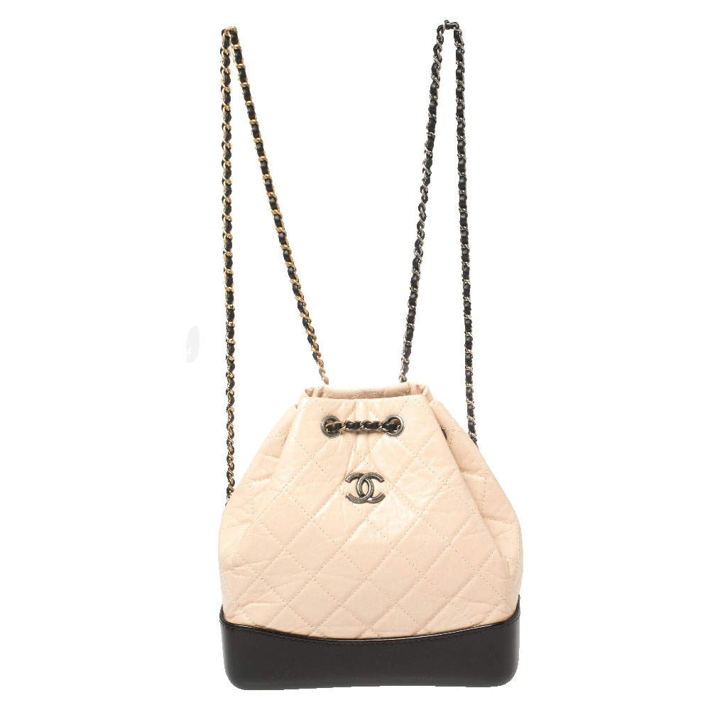 Chanel Beige/Black Aged Quilted Leather Small Gabrielle Backpack