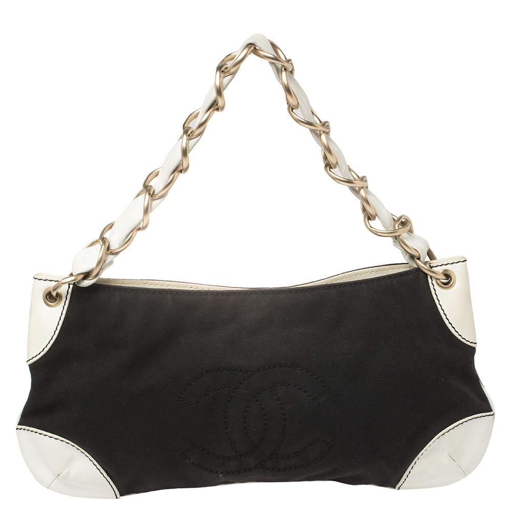 Chanel Black/White Canvas Vintage Olsen Bag