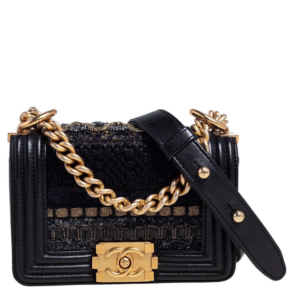 Chanel Black Leather and Tweed Mini Boy Bag