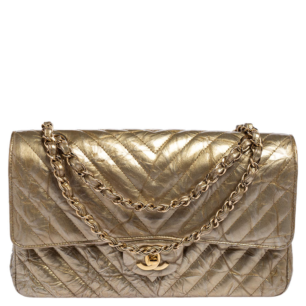 Chanel Pale Gold Quilted Vinyl and Leather Medium Classic Double Flap Bag