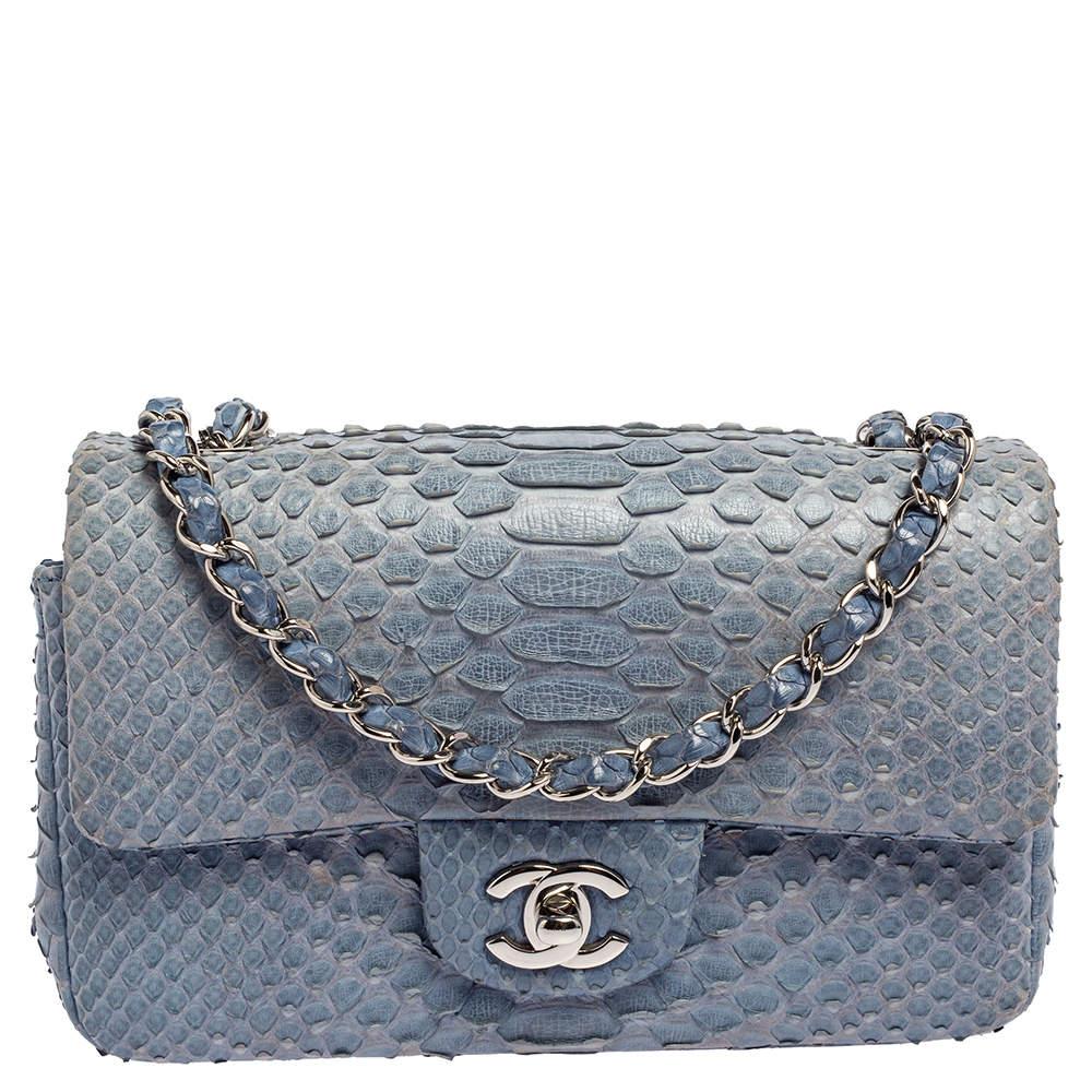Chanel Blue Python New Mini Classic Single Flap Bag