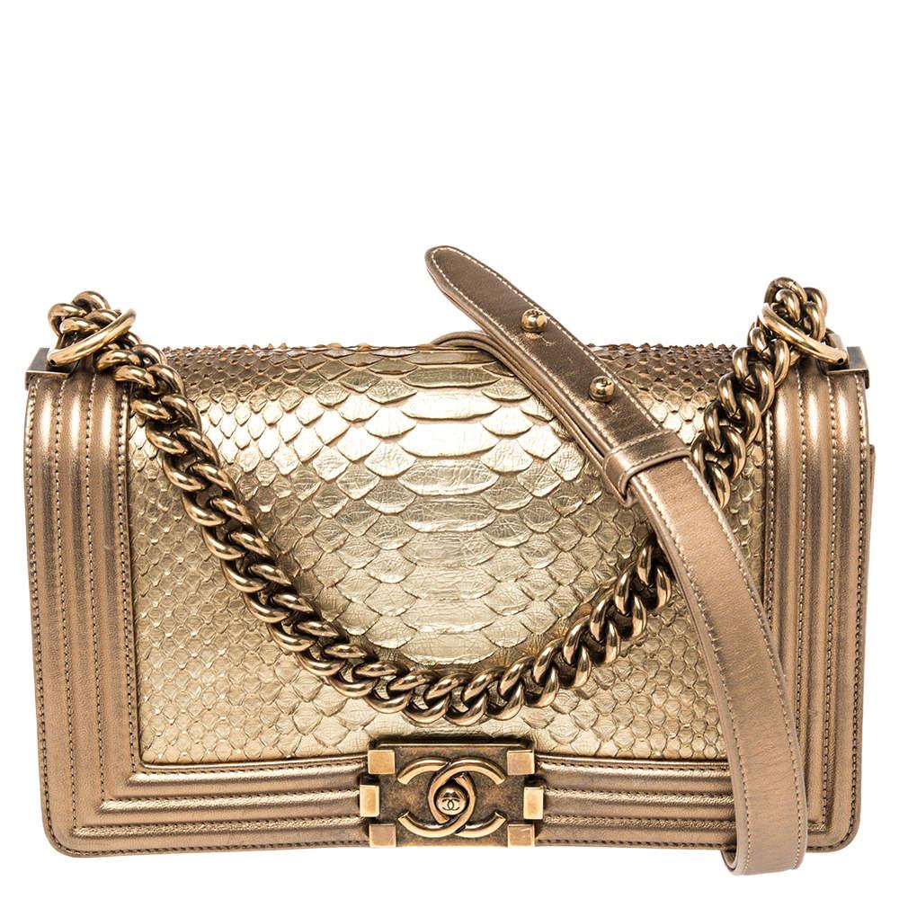 Chanel Metallic Gold Python and Leather Medium Boy Flap Bag