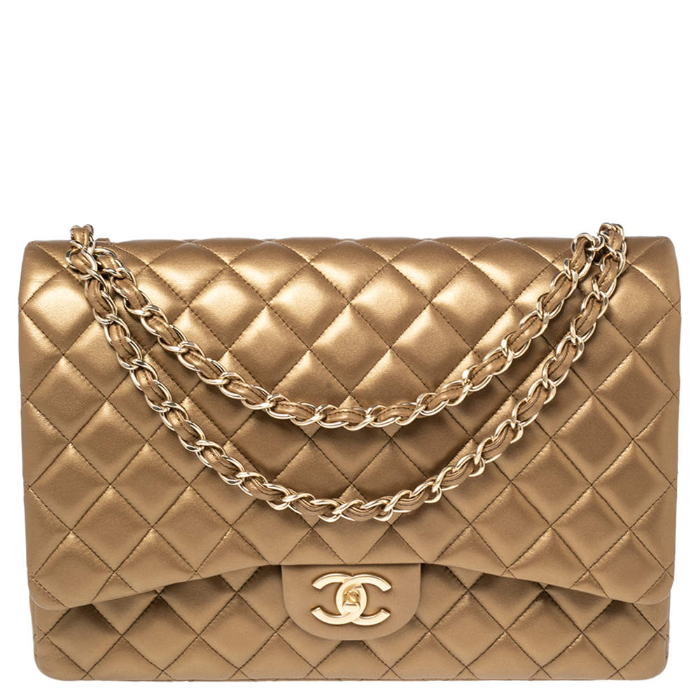 Chanel Metallic Gold Quilted Lambskin Leather Maxi Classic Double Flap Bag