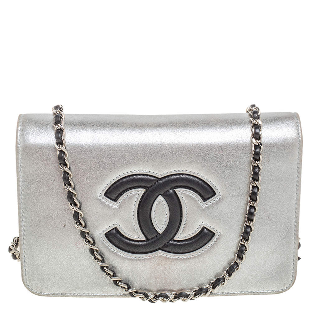 Chanel Silver/Black Leather CC Timeless Wallet On Chain
