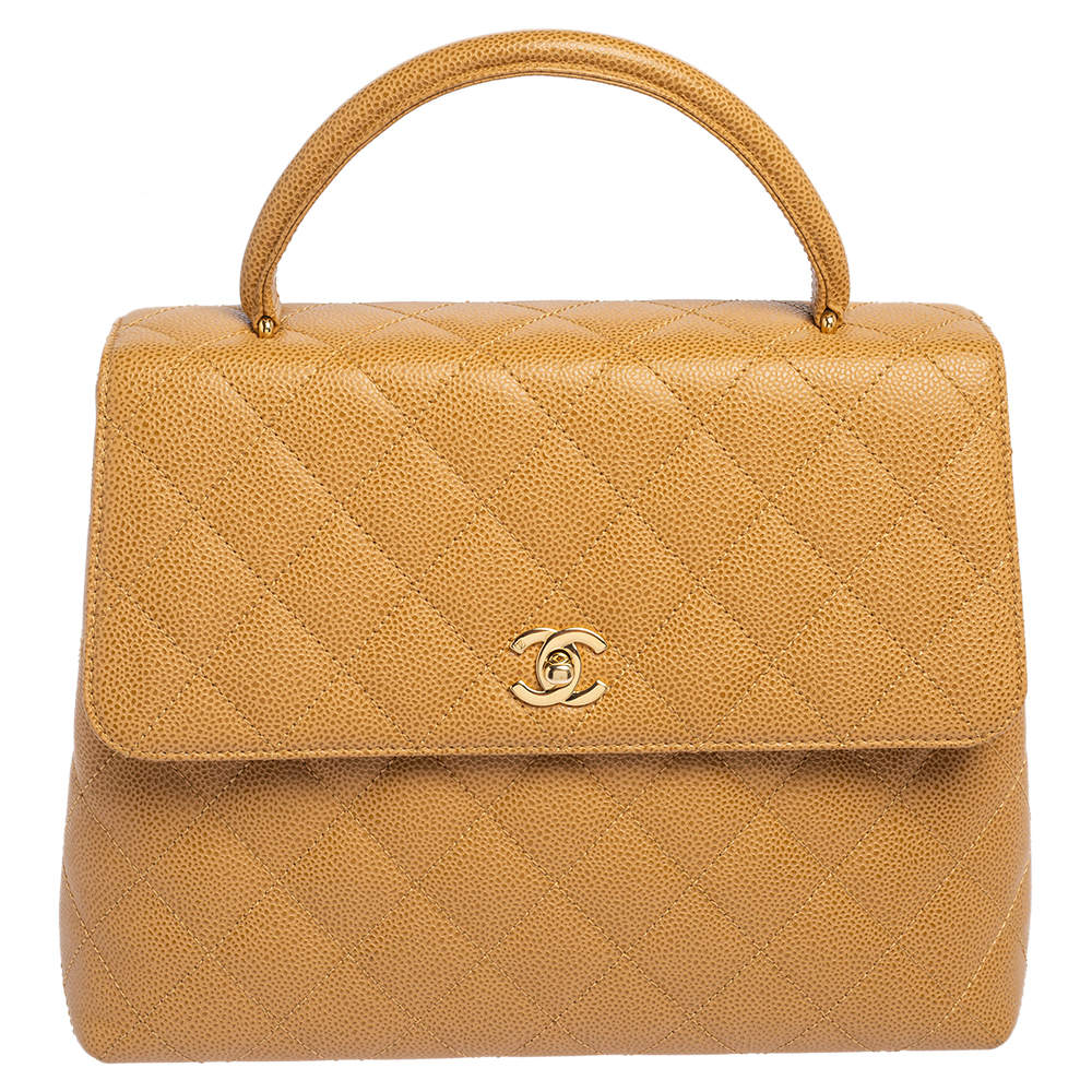 Chanel Beige Quilted Caviar Leather Vintage Kelly Bag