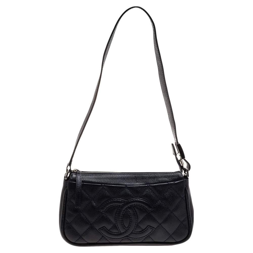 Chanel Black Quilted Leather CC Shoulder Bag