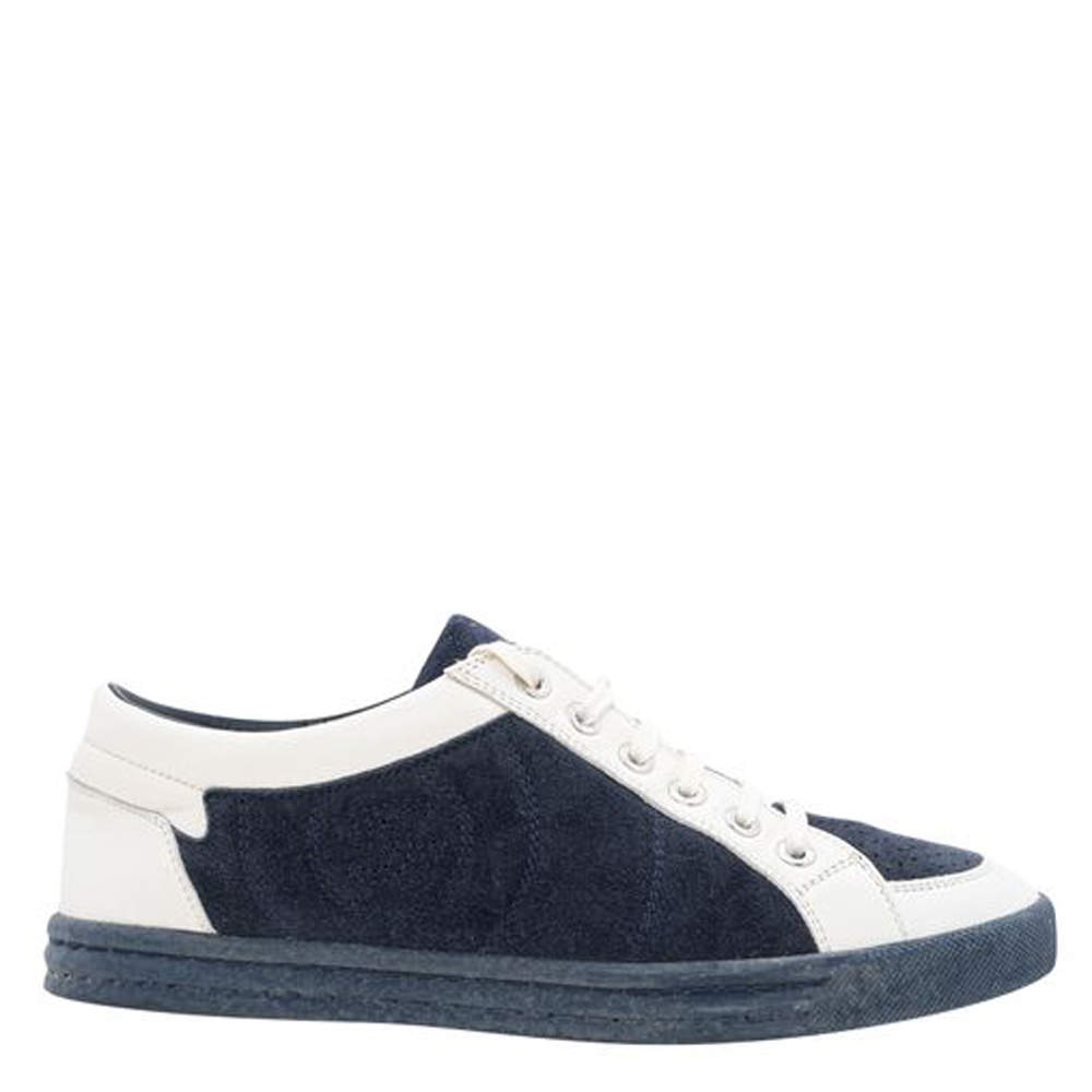 Chanel Blue/White Suede Leather CC Low Top Sneakers Size 37