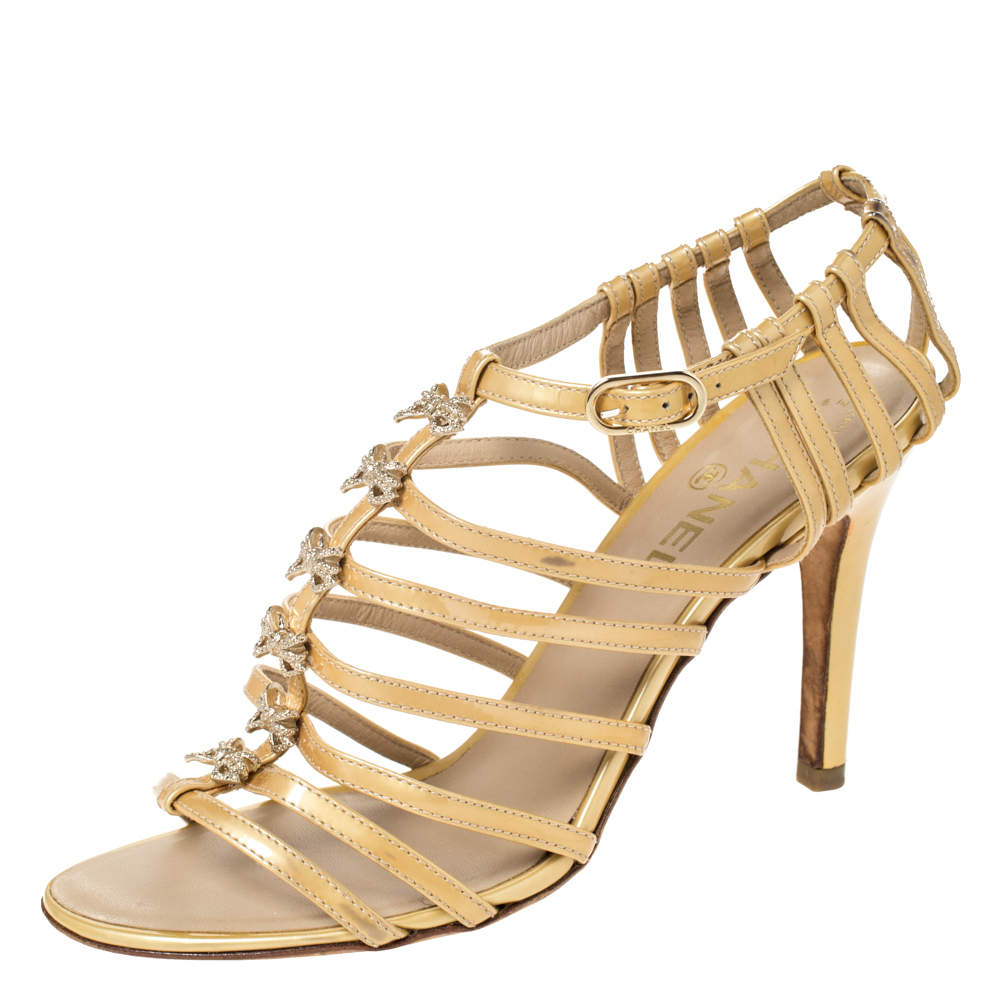 Chanel Beige Patent Leather Bow Embellished Cage Sandals Size 38