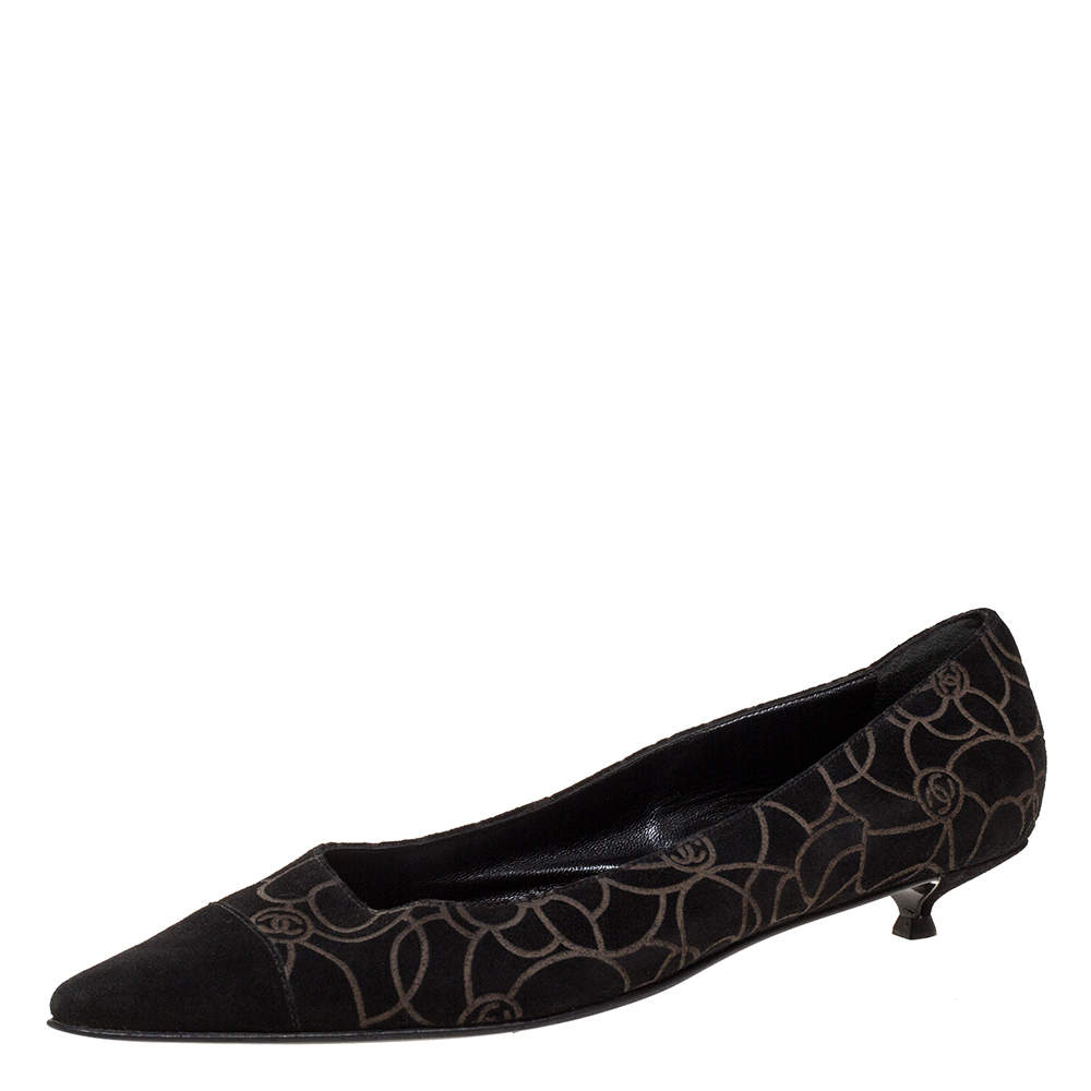 Chanel Black CC Embossed Suede Pointed Cap Toe Pumps Size 39
