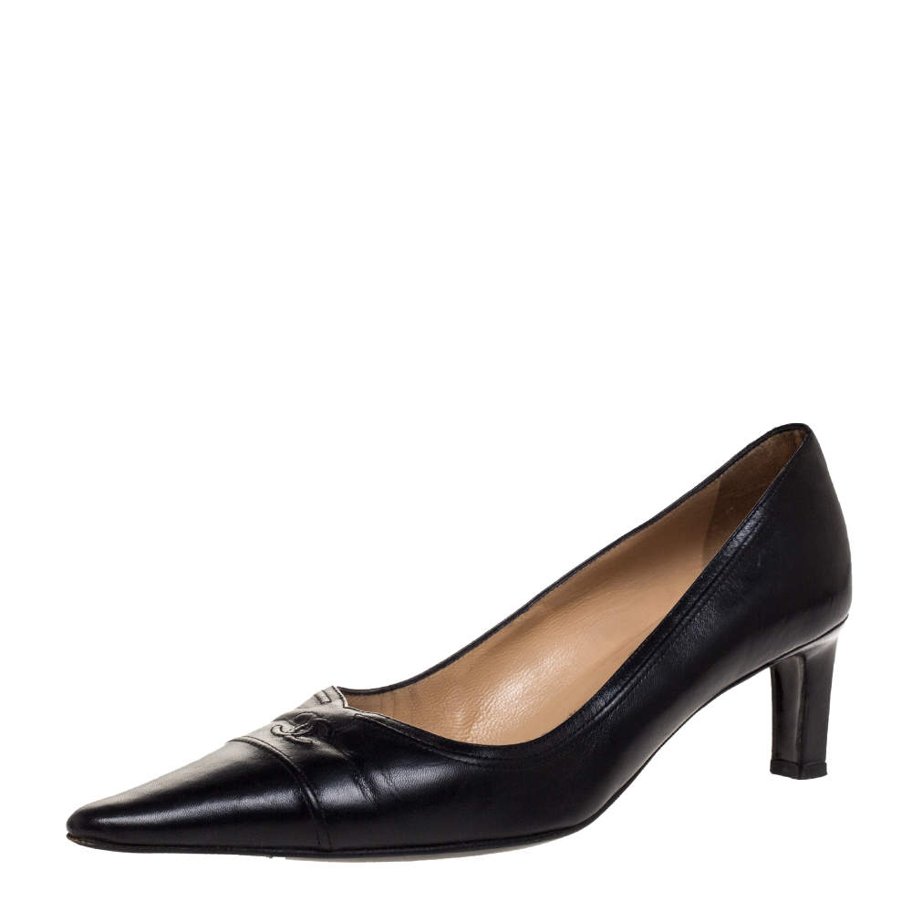 Chanel Black Leather Pointed CC Cap Toe Pumps Size 39.5