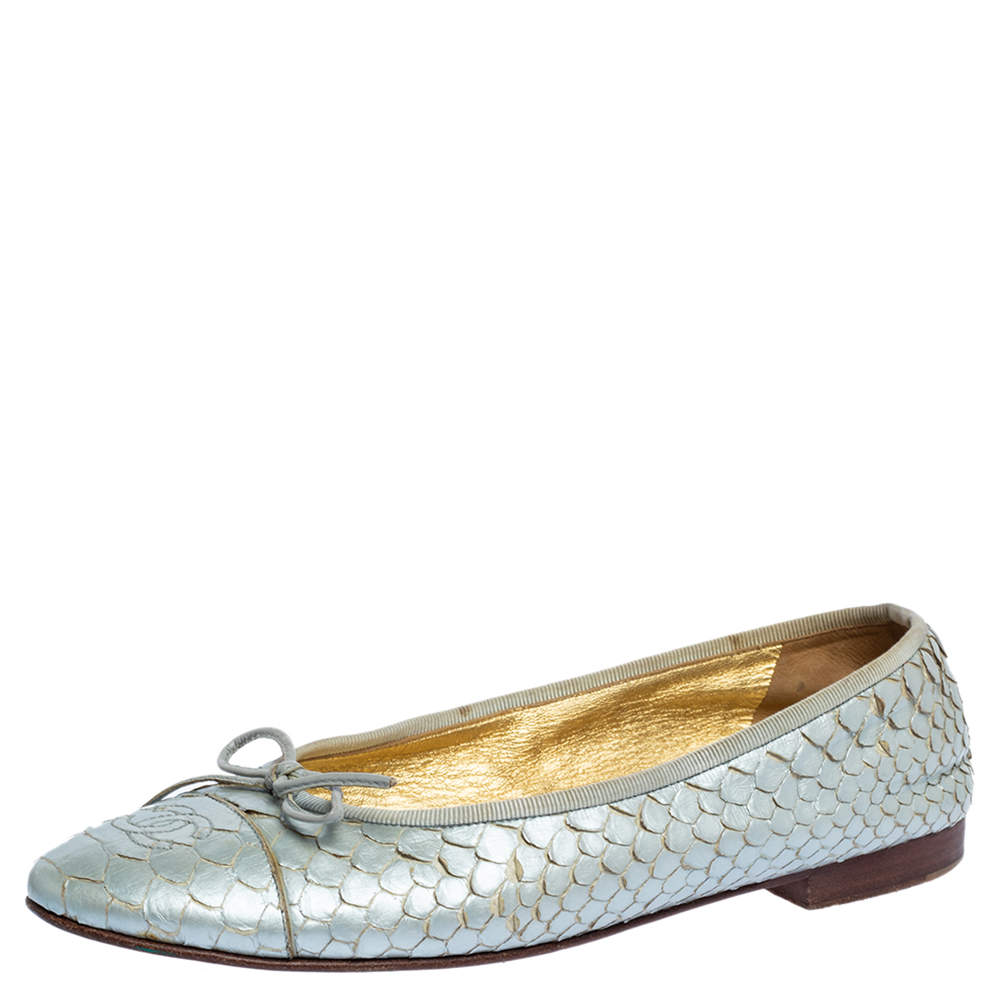 Chanel Silver Python Leather CC Bow Ballet Flats Size 38.5