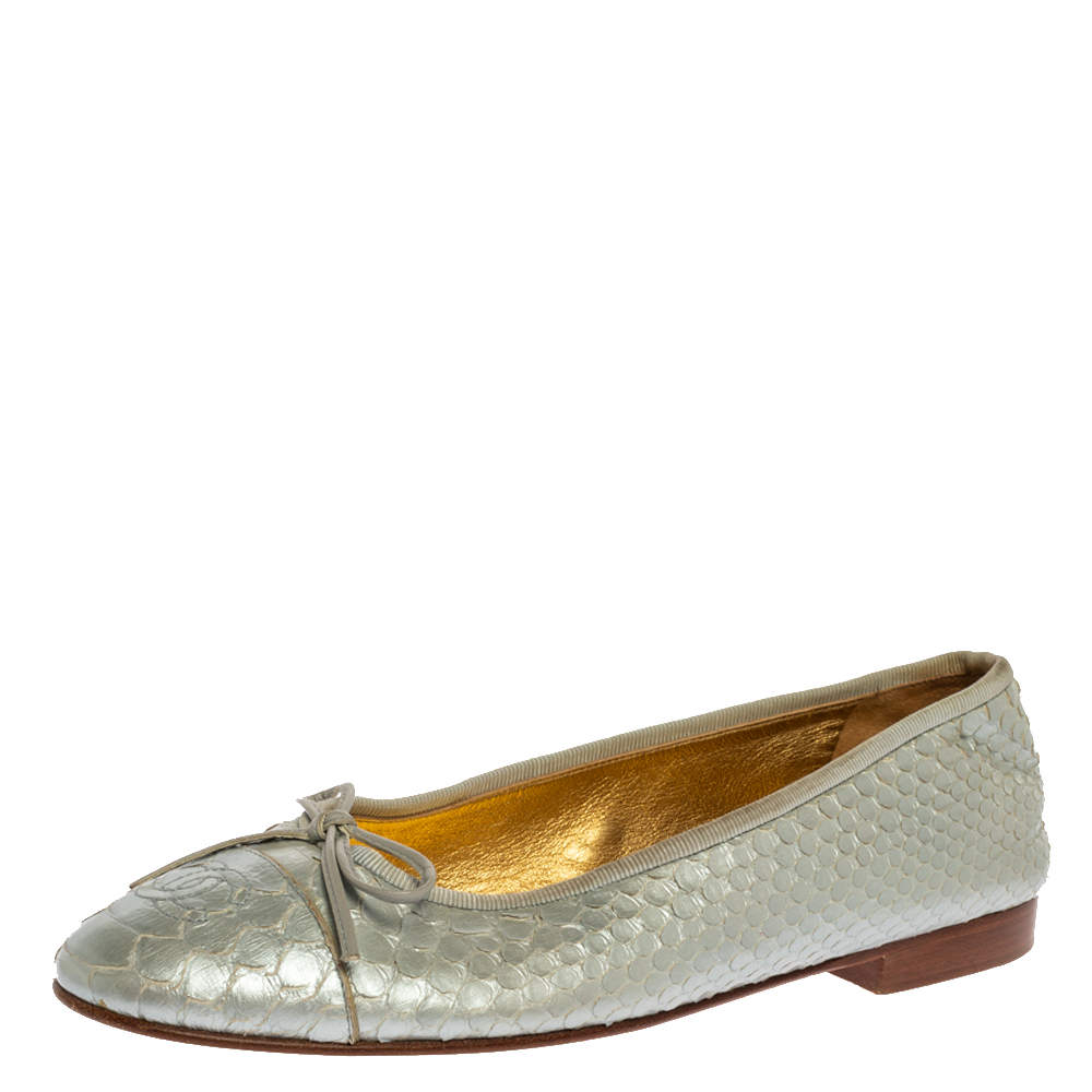 Chanel Silver Python Leather CC Bow Ballet Flats Size 38
