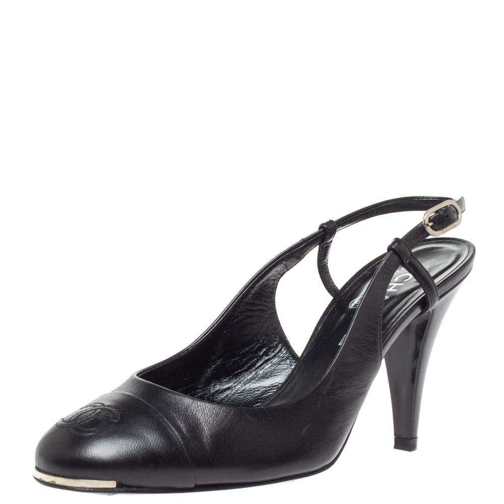 Chanel Black Leather CC Cap Toe Slingback Sandals Size 39.5