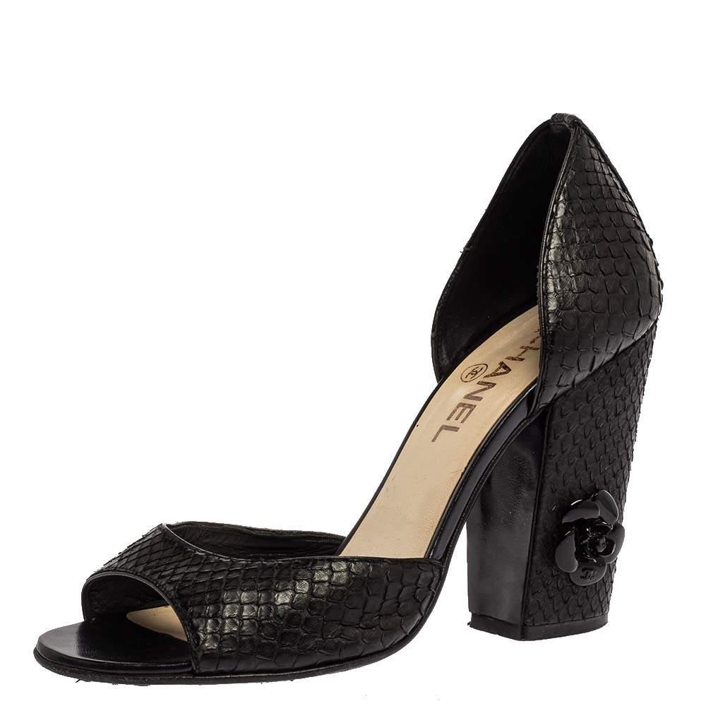 Chanel Black Snakeskin Camellia Embellished Block Heel D'Orsay Open Toe Pump Size 37