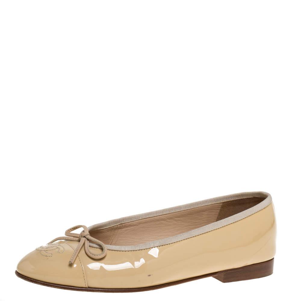 Chanel Beige Patent Leather CC Bow Ballet Flats Size 36