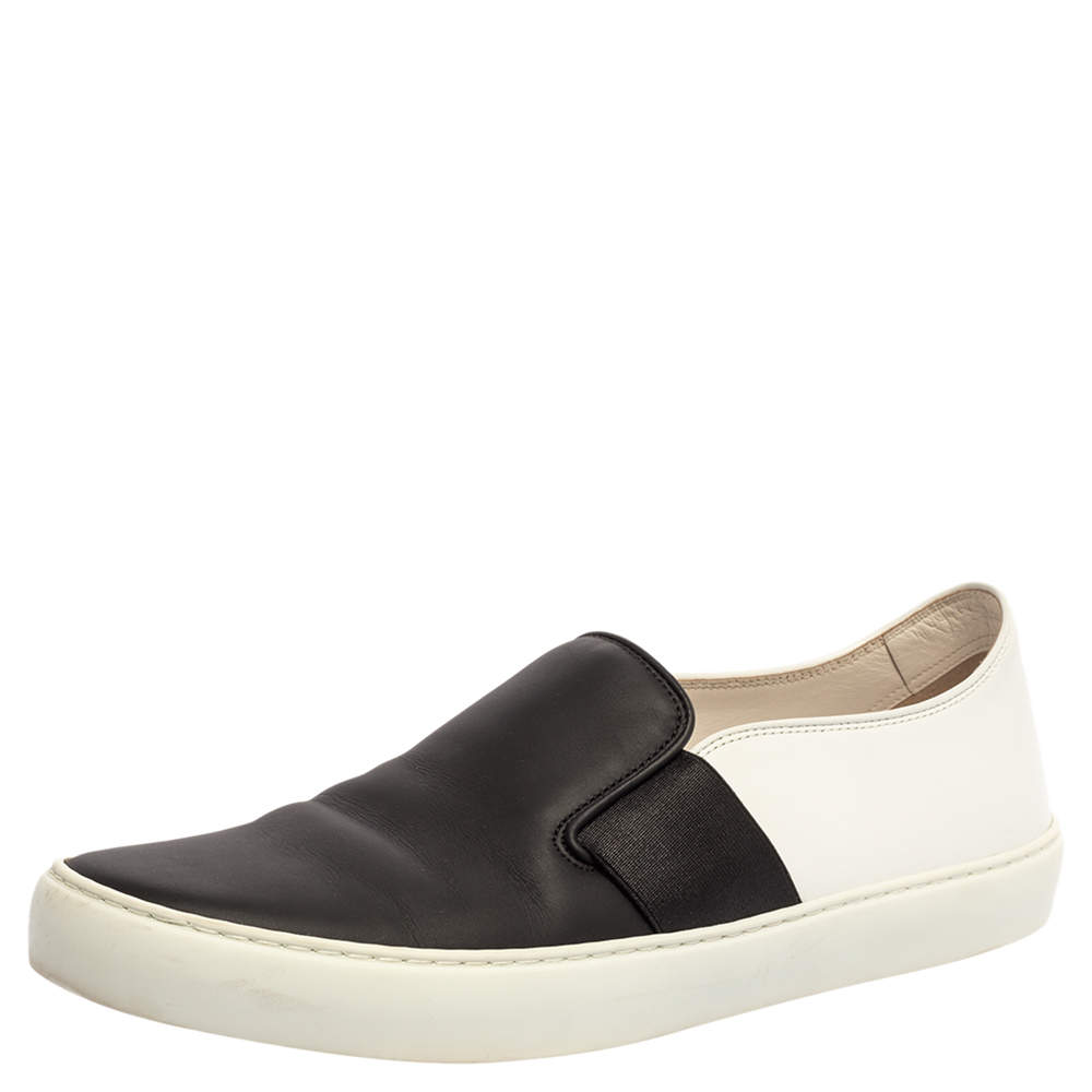 Chanel Black/White Leather Slip On Sneakers Size 41