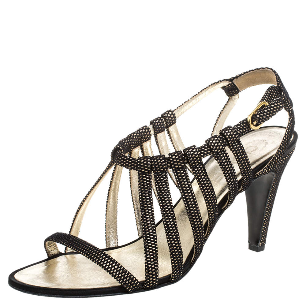 Chanel Black Leather And Fabric Open Toe Strappy Sandals Size 39.5