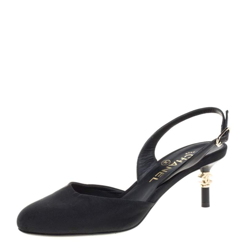 Chanel Black Canvas CC Heels Slingback Sandals Size 36