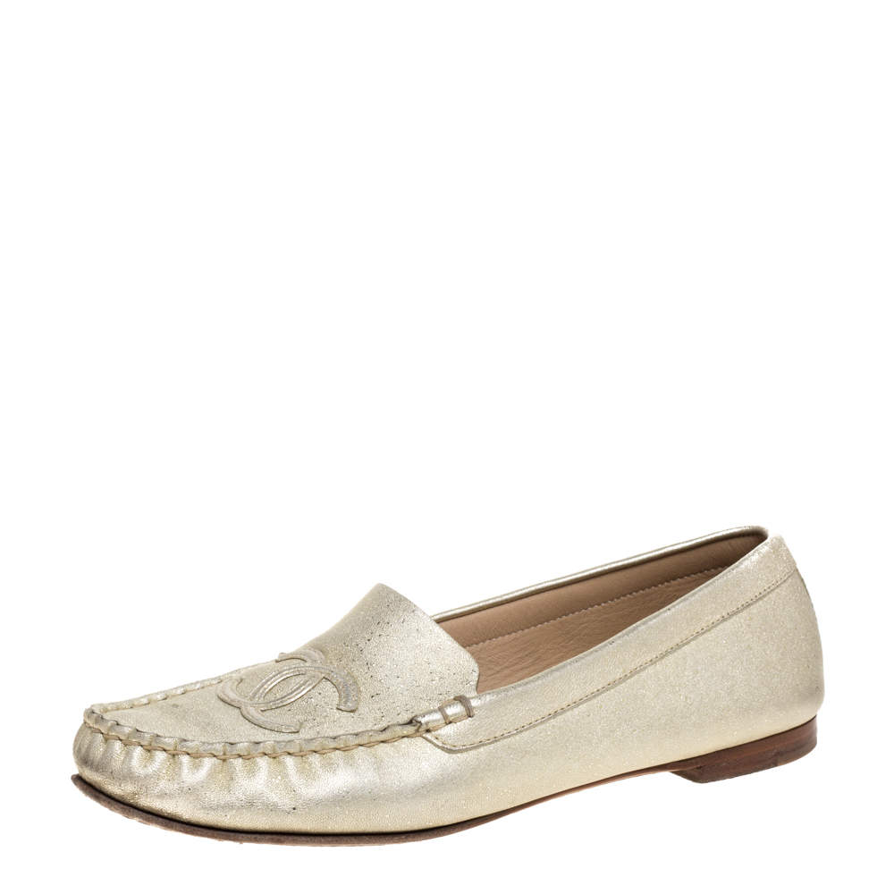 Chanel Shimmery Gold Leather CC Loafers Size 38