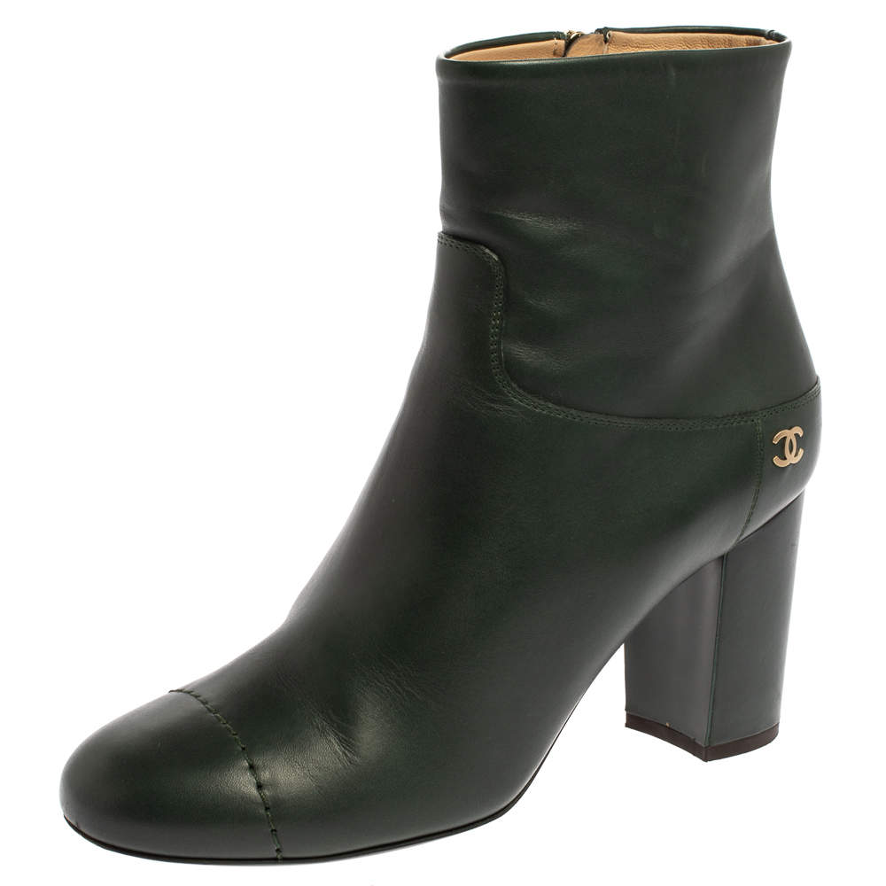 Chanel Green Leather CC Block Heel Ankle Booties Size 39.5