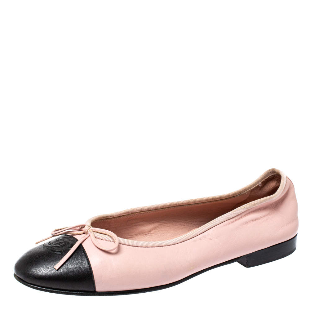 Chanel Pink/Black Leather Bow CC Cap Toe Ballet Flats Size 38