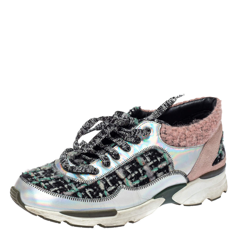 Chanel Black/Pink Tweed and Metallic Leather Lace Up Sneakers Size 37