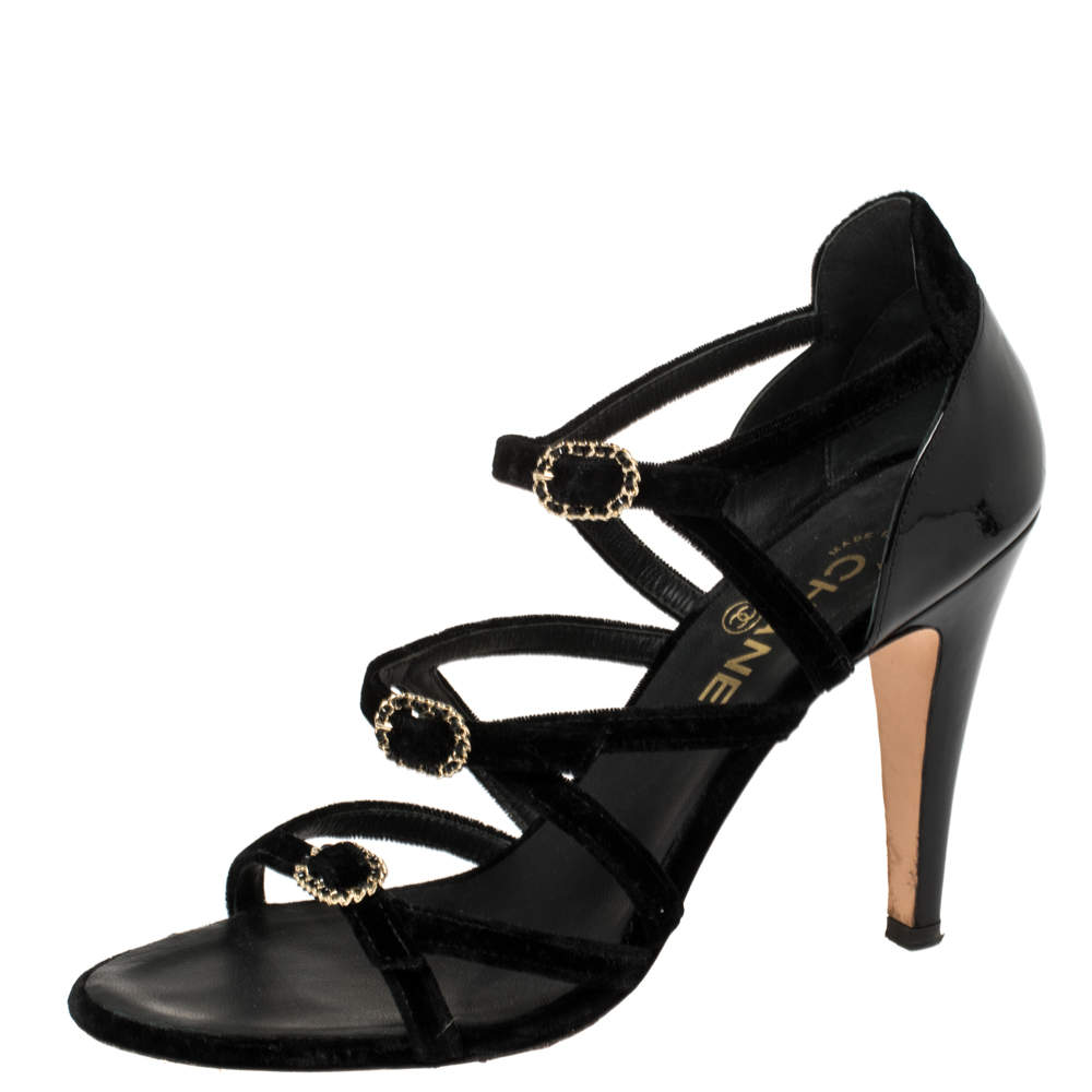Chanel Black Velvet And Patent Leather CC Strappy Buckle Sandals Size 38