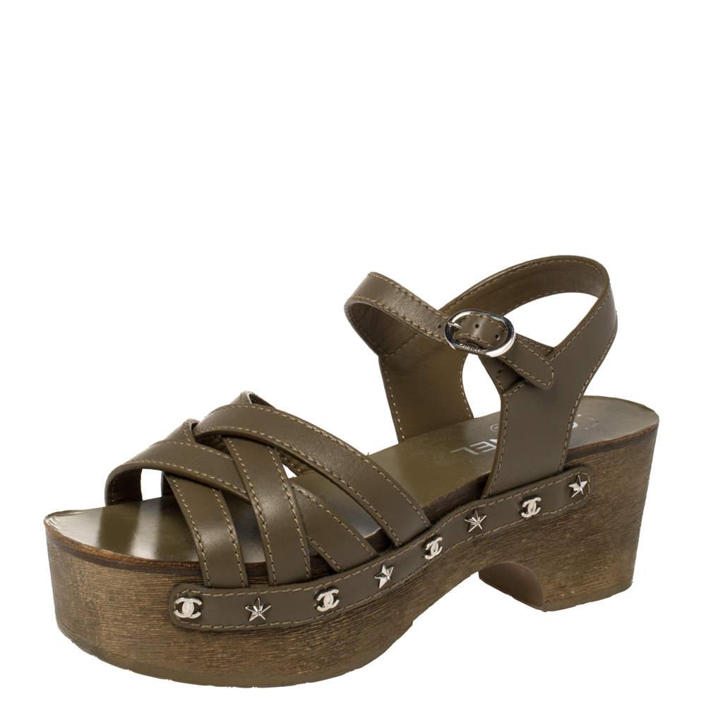Chanel Olive Green Leather Embellished Criss Cross Ankle Strap Platform Clog Sandals Size 38