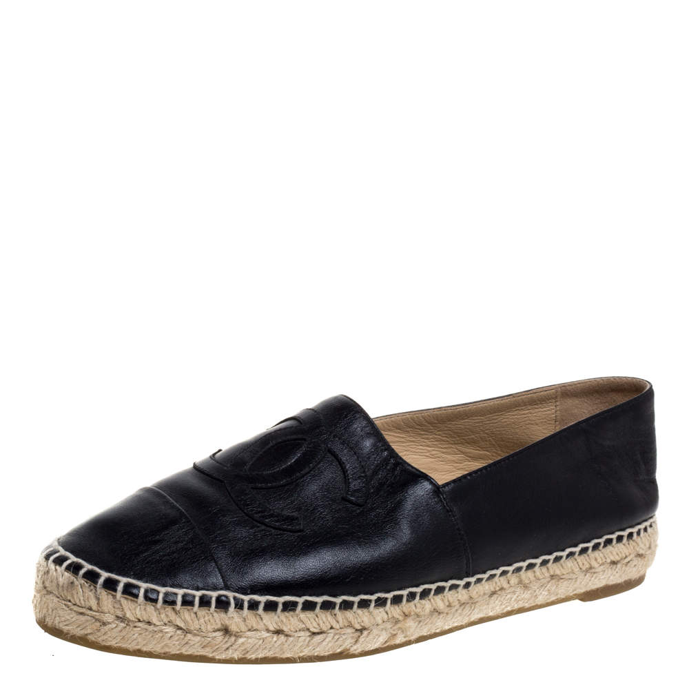 Chanel Black Leather CC Espadrille Size 39