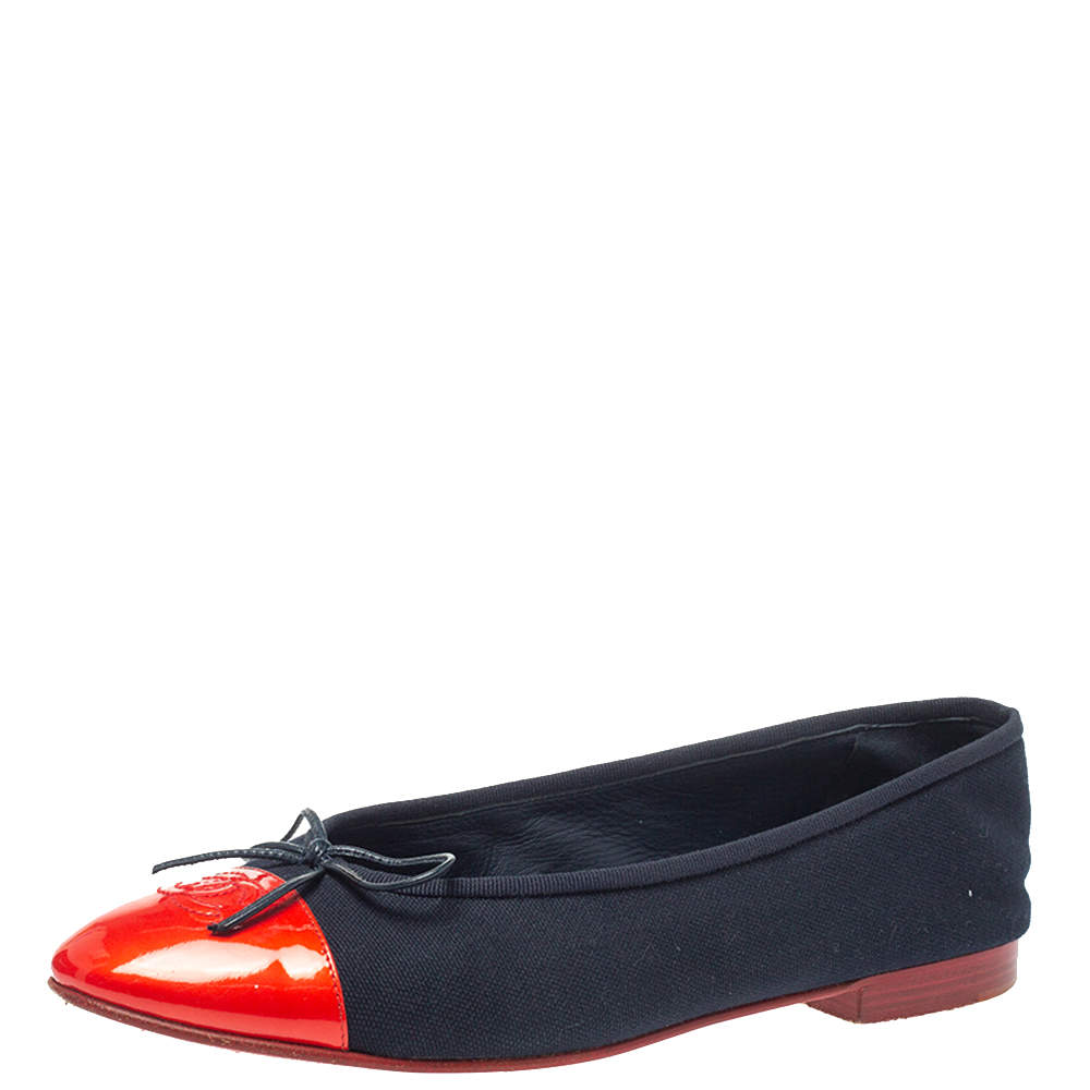 Chanel Red/Blue Canvas And CC Cap Toe Bow Ballet Flats Size 40