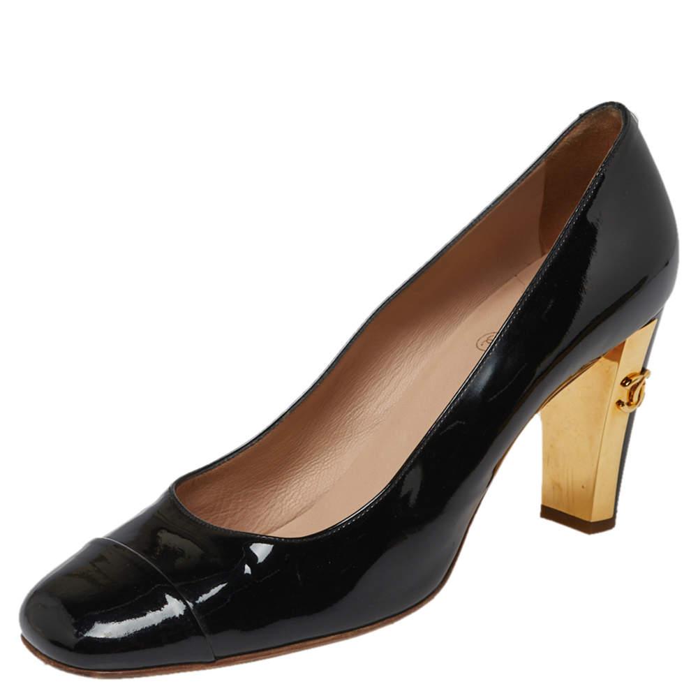 Chanel Black Patent Leather CC Square Cap Toe Pumps Size 39