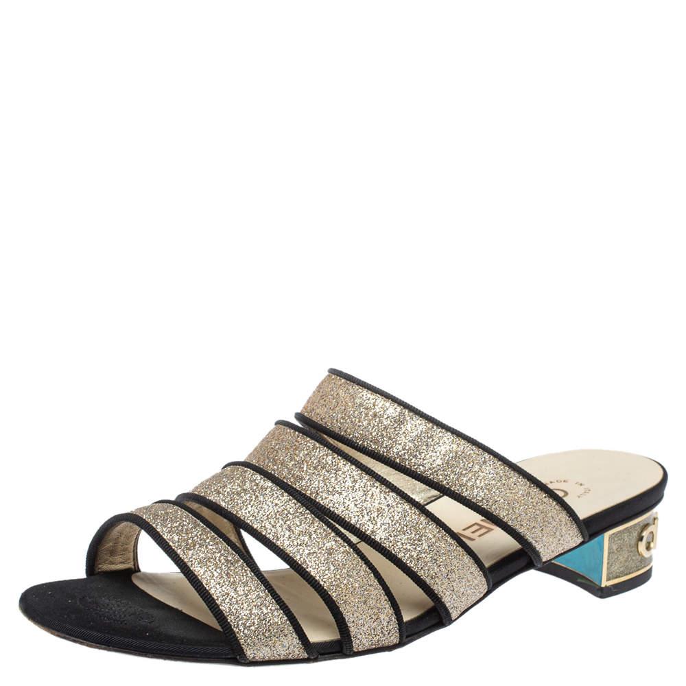 Chanel Gold Glitter Strappy Slide Sandals Size 38.5